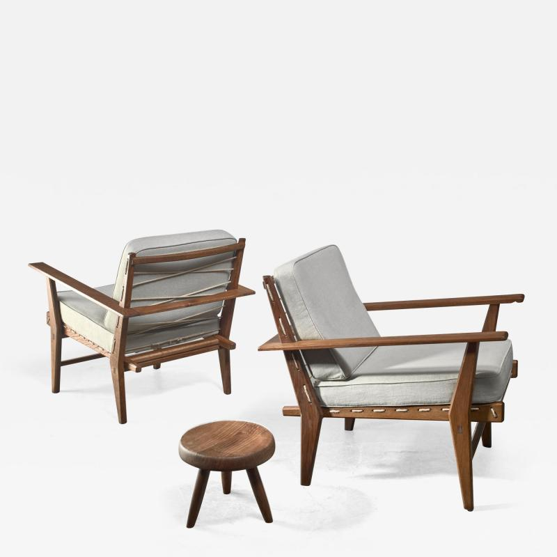 Pair of rope deck chairs