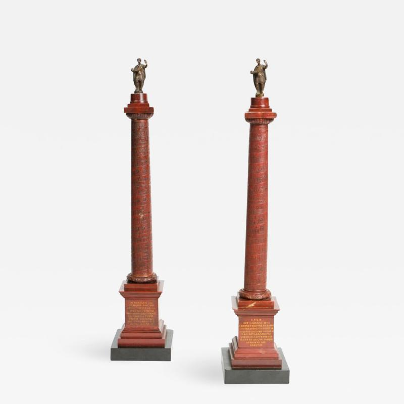 Pair of rosso antico marble grand tour columns