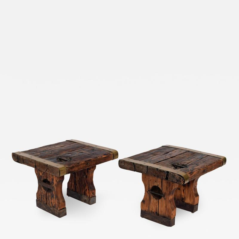 Pair of rustic side tables made of raw hatch boards