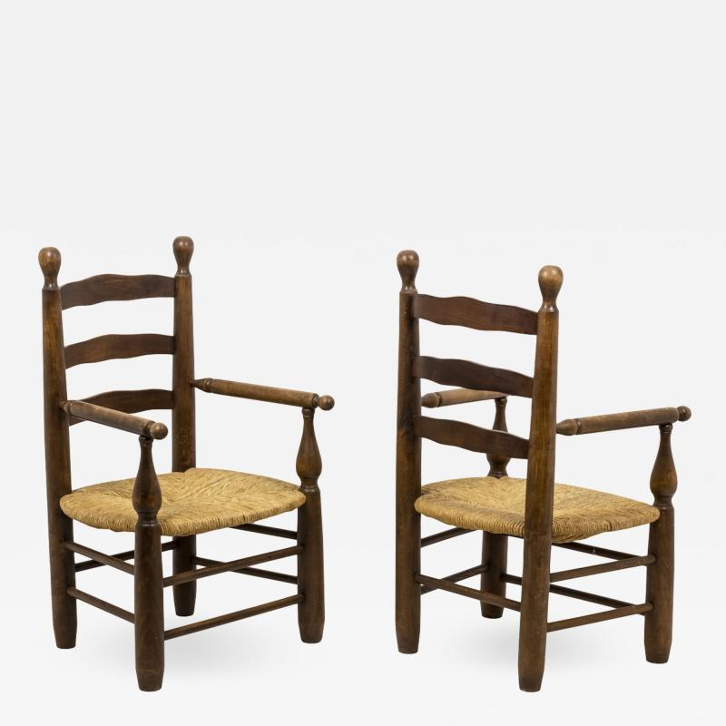 Pair of straw armchairs in natural beech 1950s
