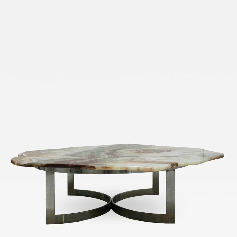 Pakistan Onyx Top and Steel Base French 1960s Coffee Table