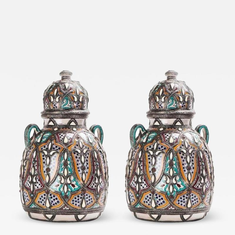 Palatial Lidded Vase or Urn in Ceramic with Brass Inlay a Pair