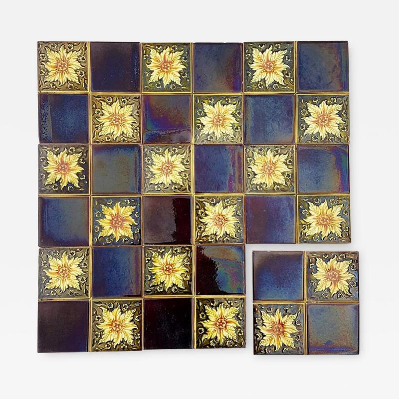 Panel of 9 Glazed Art Deco Relief Tiles by S A Des Pavillions 1930s