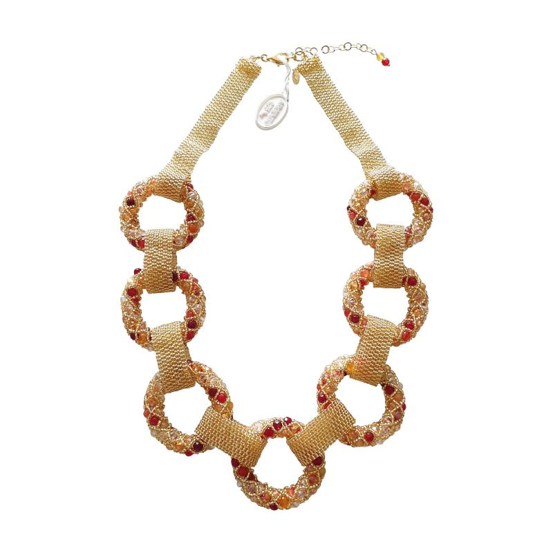 Paola B Unique Gold and red Murano glass beads hand made necklace by Paola B