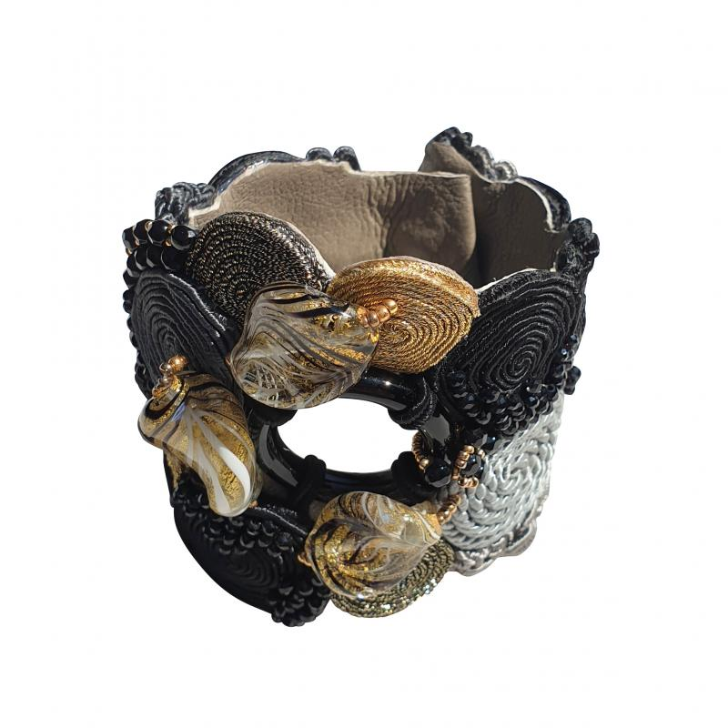 Paola B Unique Murano glass beads silk fashion bracelet by Venetian artist Paola B