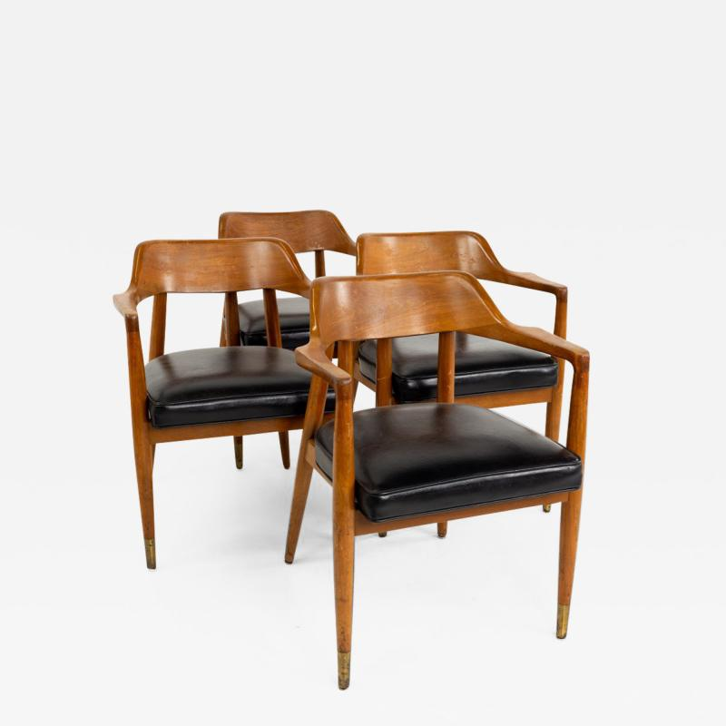 Paoli Mid Century Walnut Dining Occasional Chairs Set of 4