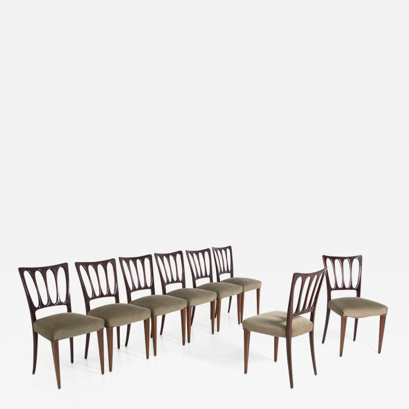 Paolo Buffa Eight Mid Century Velvet Chairs in the Style of Paolo Buffa in Walnut