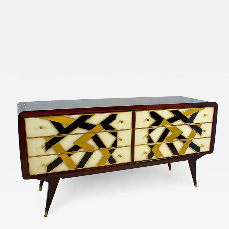 Paolo Buffa Italian Modern Prototype Mahogany Brass Inlaid and Murano Glass Commode Buffet