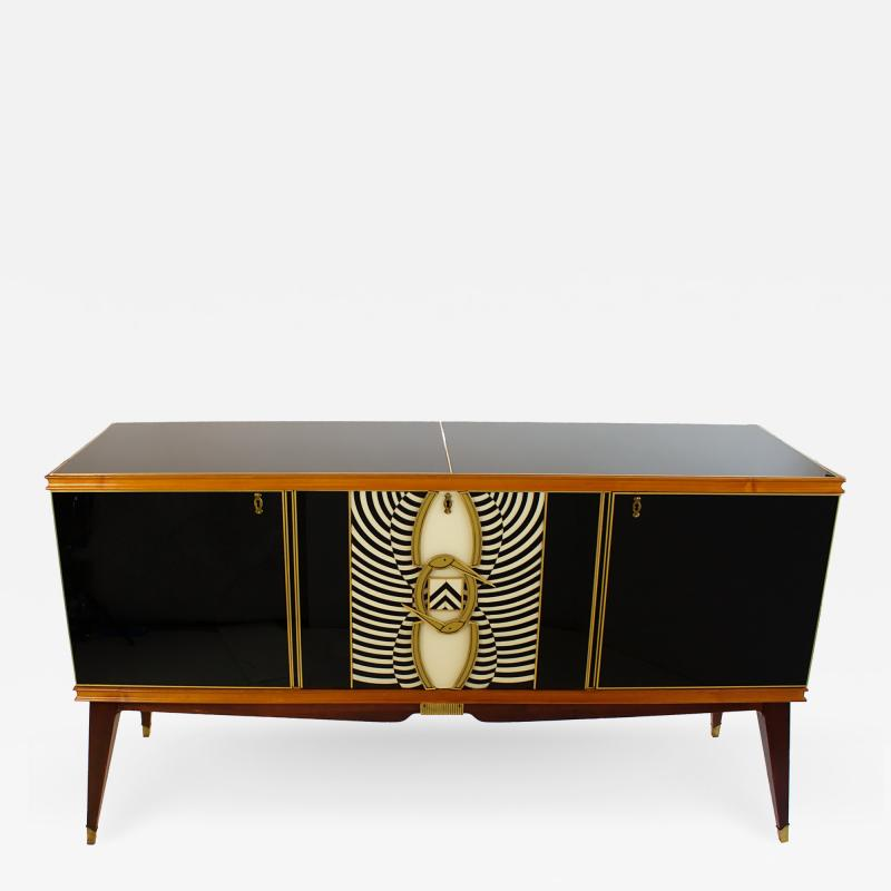 Paolo Buffa Italian Modern Prototype Mahogany Bronze and Murano Glass Sideboard Buffet
