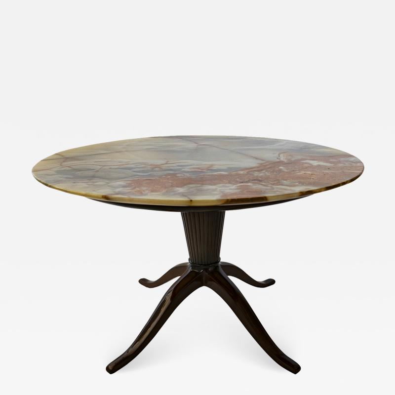 Paolo Buffa Italian Modern Round Onyx Top Table