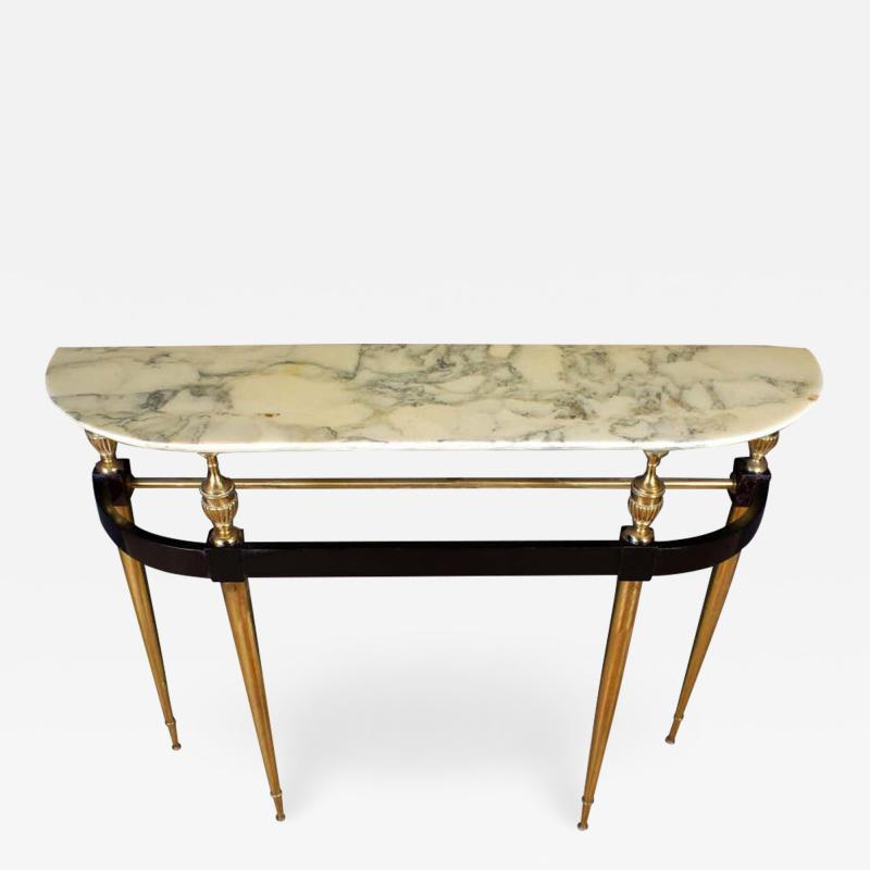 Paolo Buffa Italian Modernist Midcentury Oval Shaped Gilt Bronze Console Table