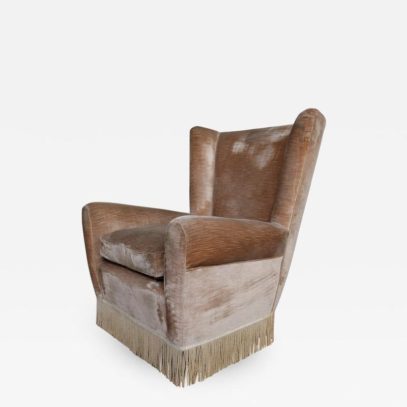 Paolo Buffa Mid Century Italian Wingback Armchair in the Style of Paolo Buffa from the 1960s