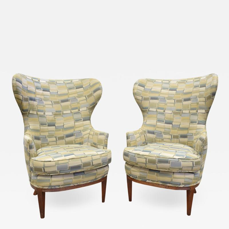 Paolo Buffa Pair Of Stylish Wingback Chairs In The Style Of Paolo Buffa 1950s