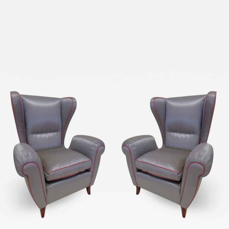 Paolo Buffa Pair of 1960s Italian Wing Chair Paolo Buffa Style Mid Century Modern