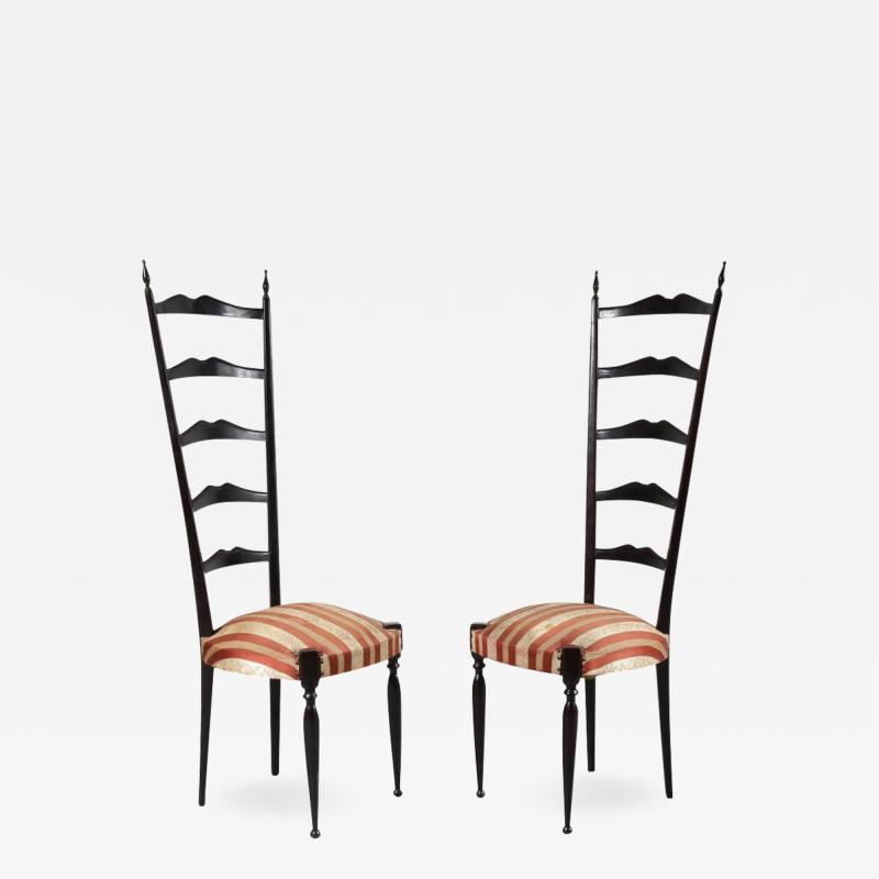 Paolo Buffa Pair of Paolo Buffa Highback Side Chairs Italy 1950
