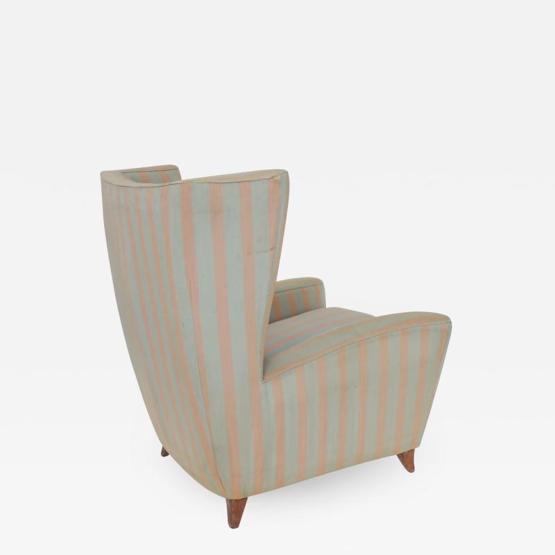 Paolo Buffa Paolo Buffa 1940s Armchair in Original Pink and Light Grey Stripes Fabric