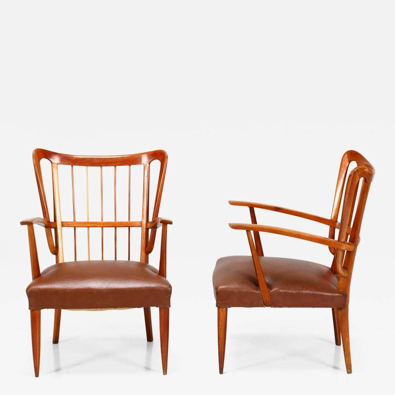 Paolo Buffa Paolo Buffa 1950s chairs in cherry wood