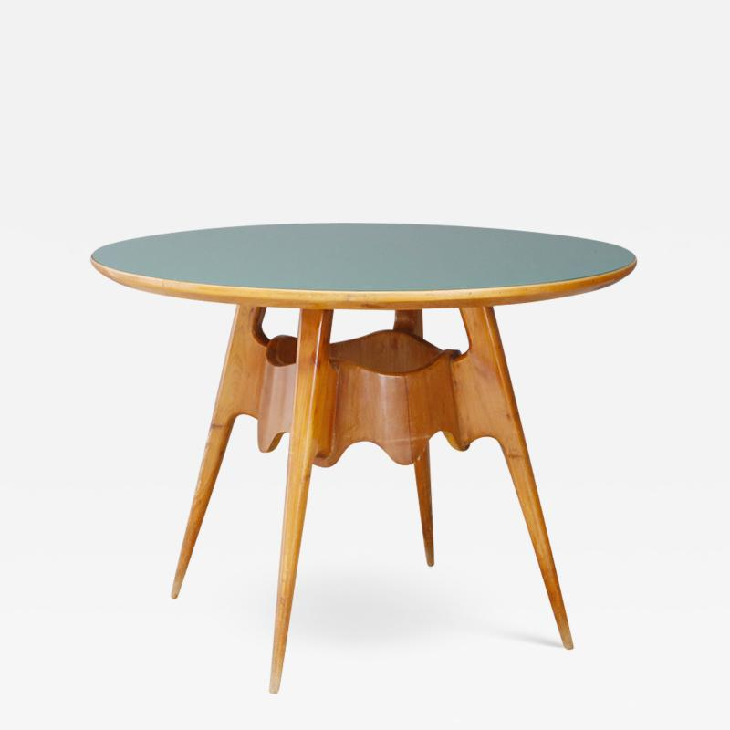 Paolo Buffa Paolo Buffa MidCentury dining table with green glass top 1940s