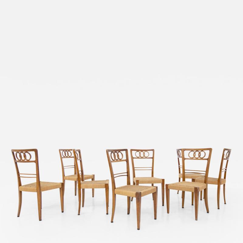 Paolo Buffa Paolo Buffa Set of eight chairs in walnut wood and straw 1950s