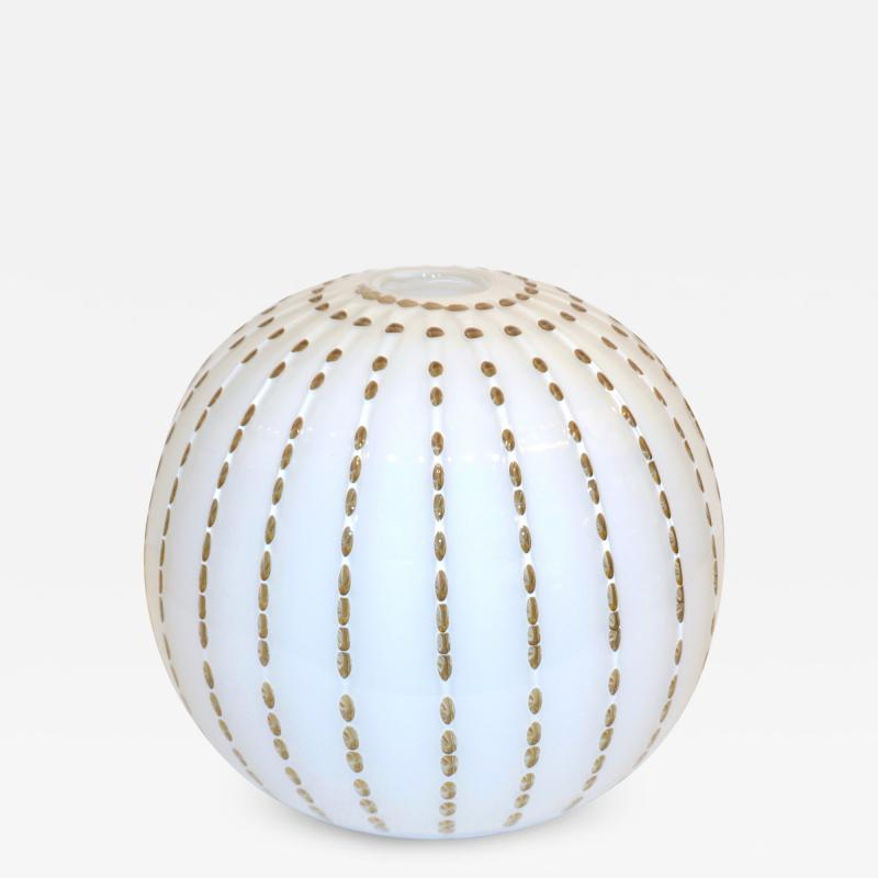 Paolo Crepax Paolo Crepax Italian White Murano Glass Modern Vase with Orange Dot Murrine