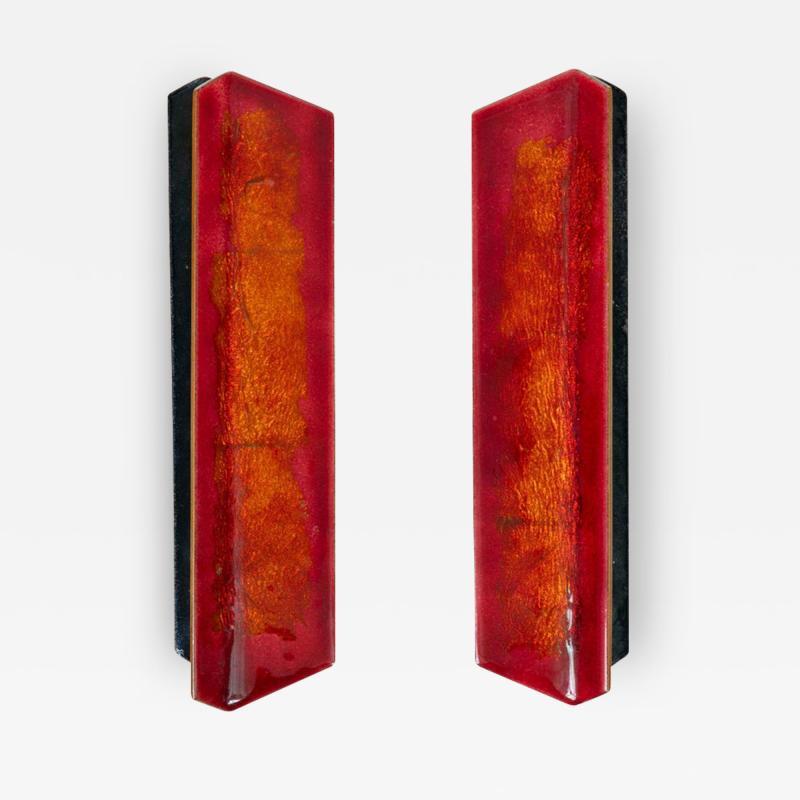 Paolo De Poli Paolo De Poli Enameled Copper Door Pulls with Brass Hardware