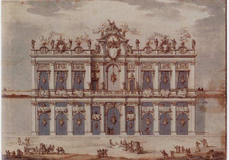 Paolo Posi Signed Design for a Fa ade possibly for the Festa della Chinea of 1766