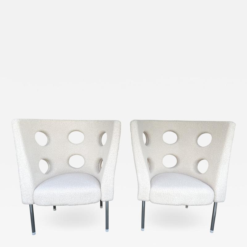 Paolo Rizzatto Contemporary Pair of Armchairs Boucl Fabric by Paolo Rizzatto Italy