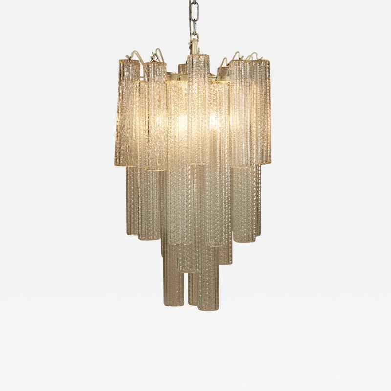 Paolo Venini 1950s Italian glass cylindrical chandelier by Venini II