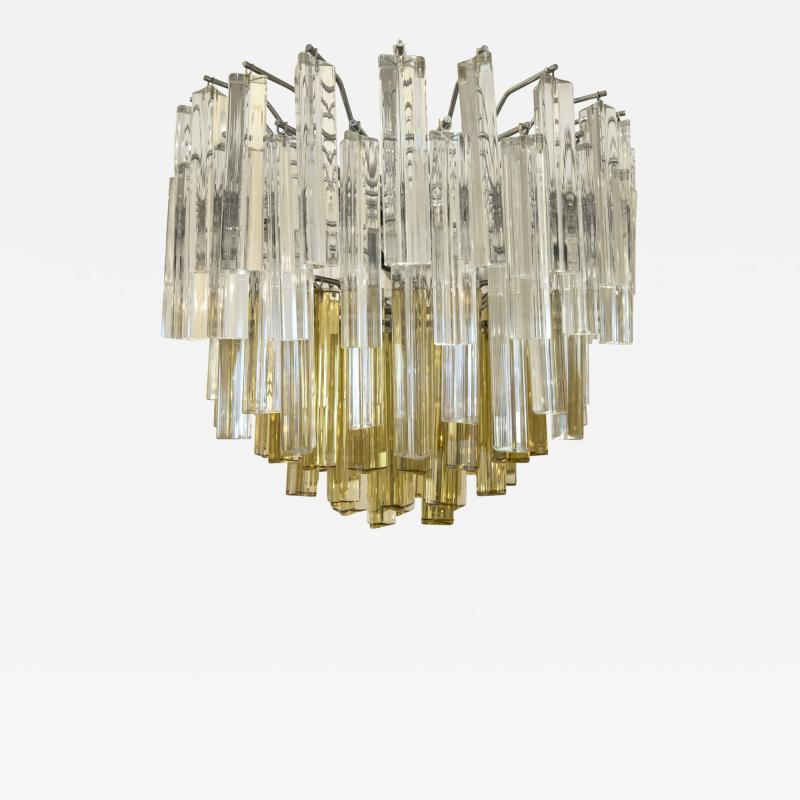 Paolo Venini Amber Yellow Crystal Pendant Light After Venini