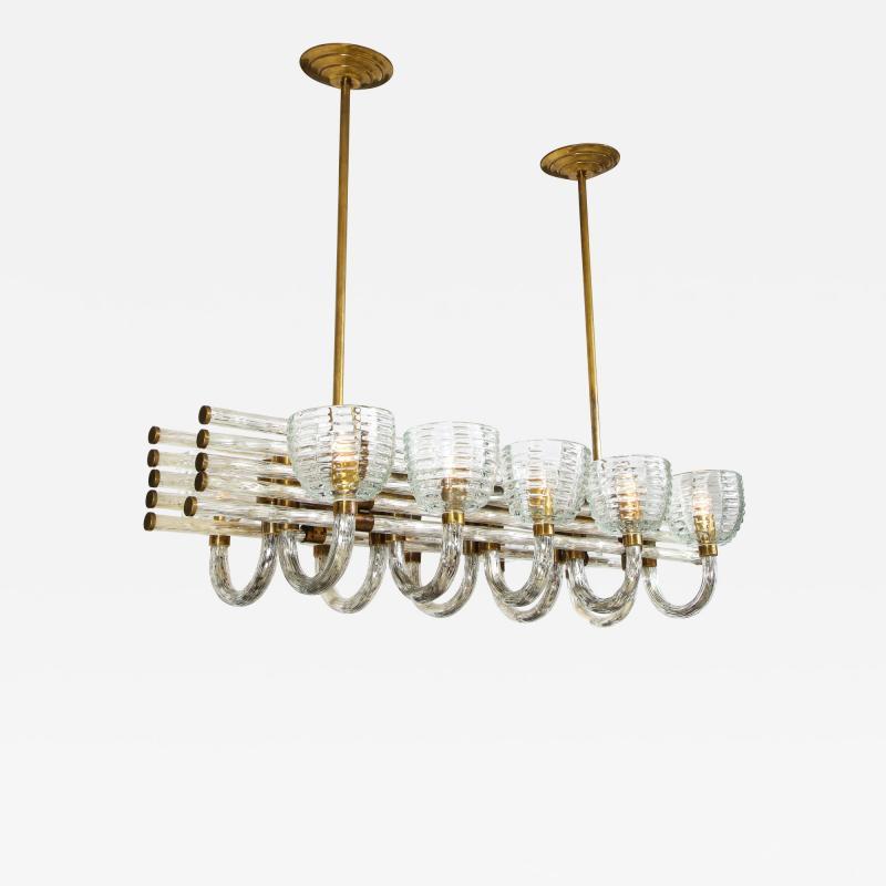 Paolo Venini Large 1930s Paolo Venini Murano Glass and Brass Chandelier
