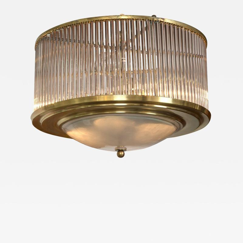Paolo Venini Larger Vintage Venini Brass Straw Ceiling Fixture 2 available