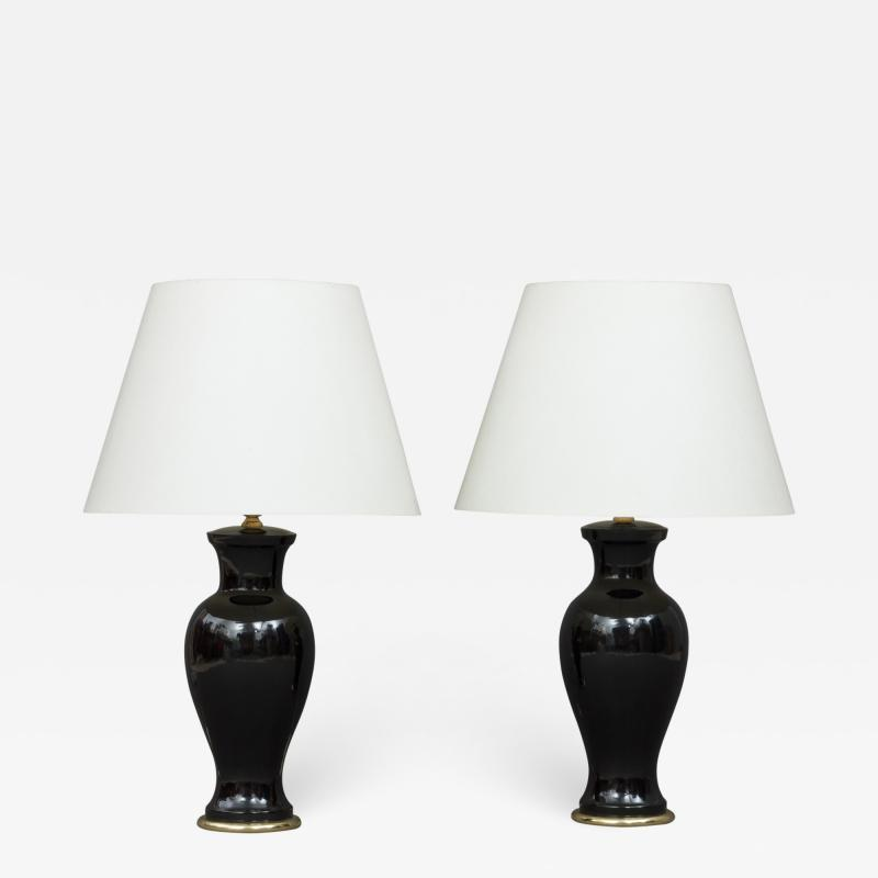 Paolo Venini Pair of Italian mid century black ceramic lamps