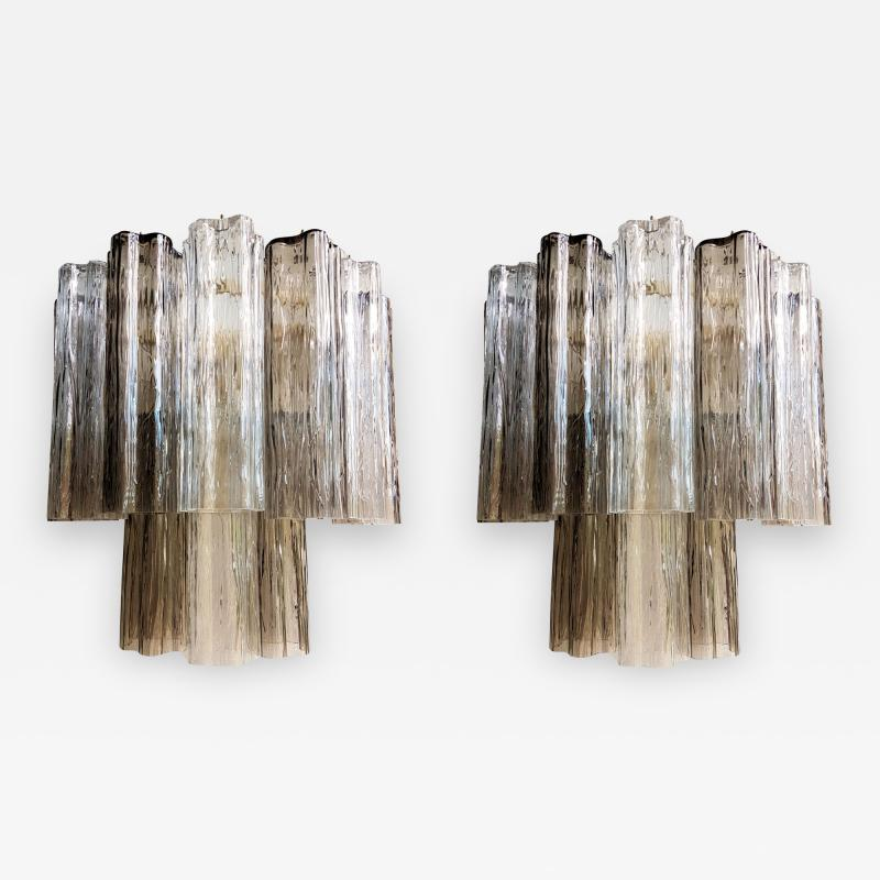 Paolo Venini Pair of Venini Tronchi Murano Glass Sconces Mid Century Modern