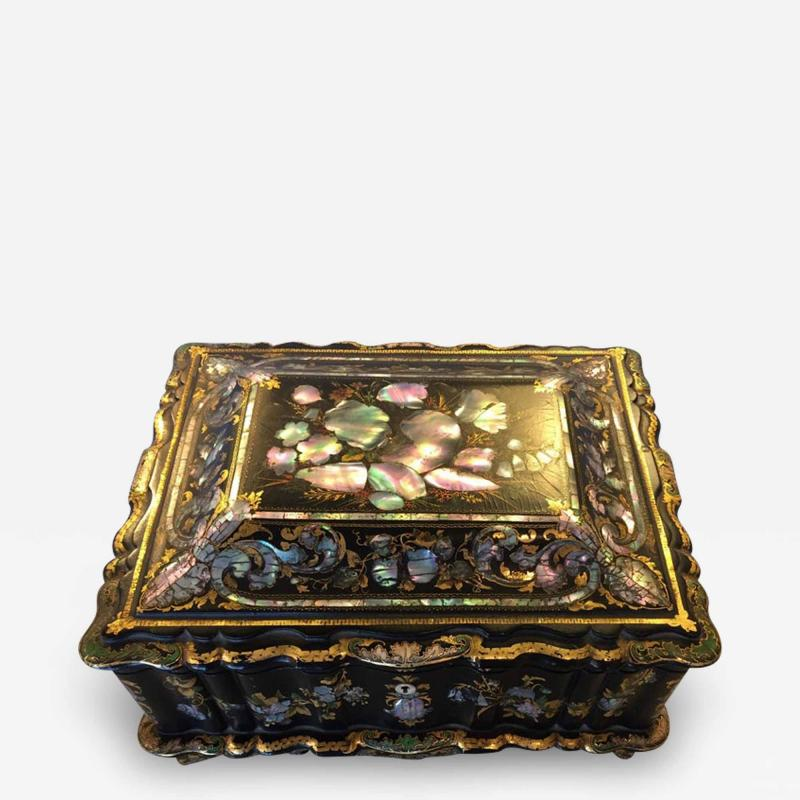 Papier M ch Massive Size Fine Quality 19th Century Sewing Box or Jewelry Box