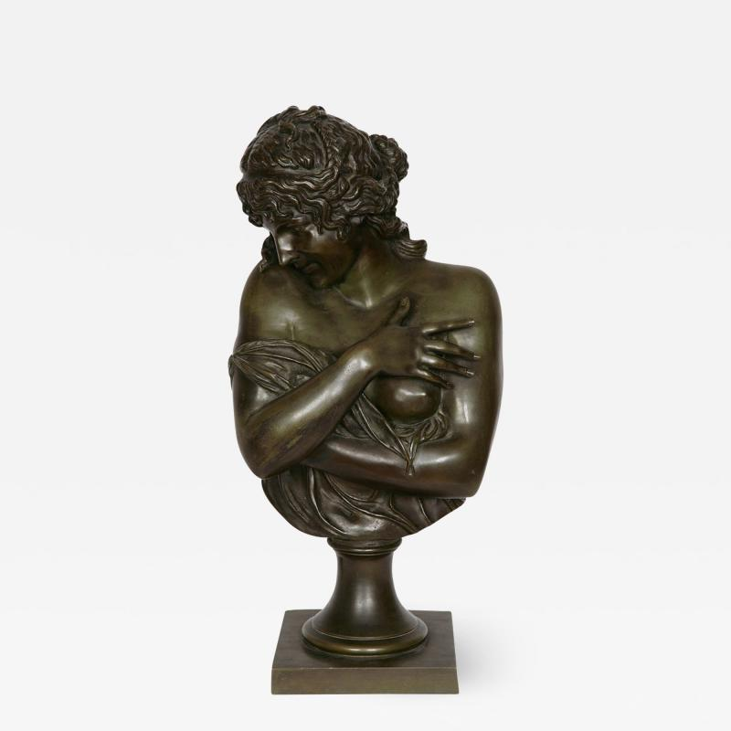 Patinated bronze antique French bust of a lady after Houdon