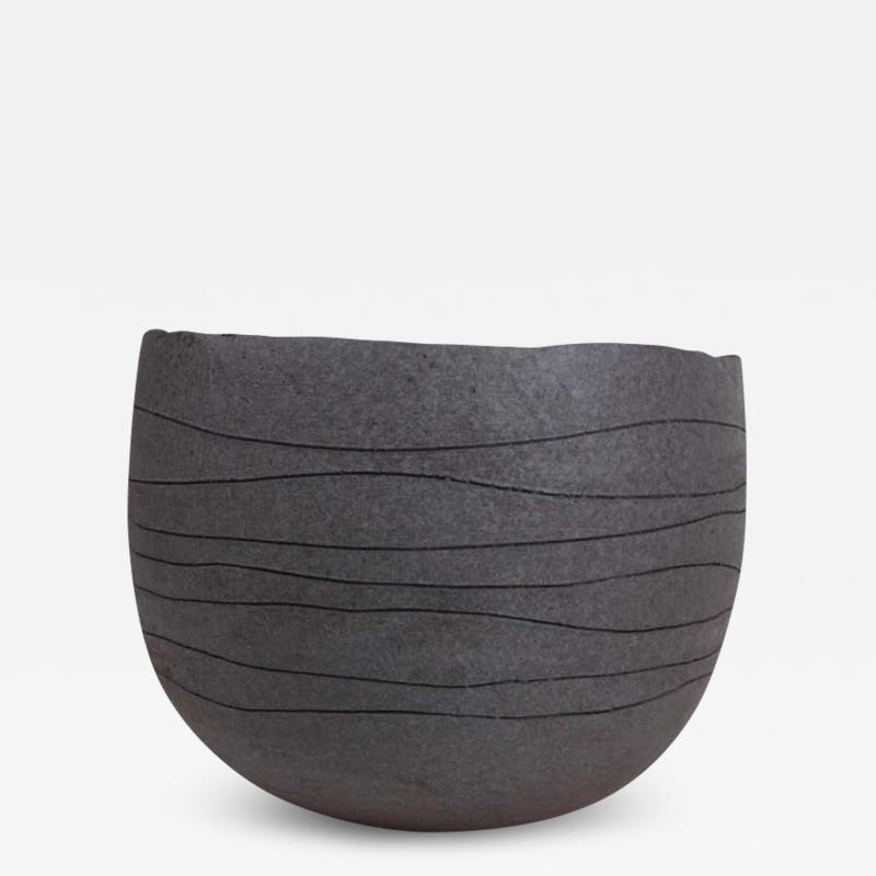 Patricia Vieljeux Contemporary Gray Stoneware Bowl Hand Engraved by Artist Patricia Vieljeux