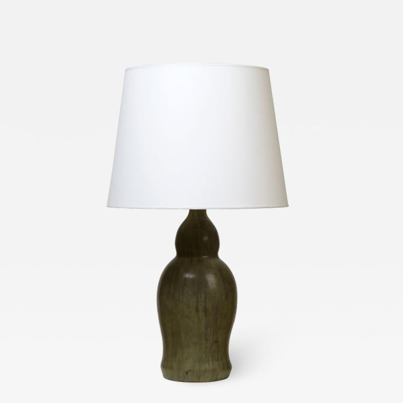 Patrick Nordstrom Table lamp with large double gourd form by Patrick Nordstr m