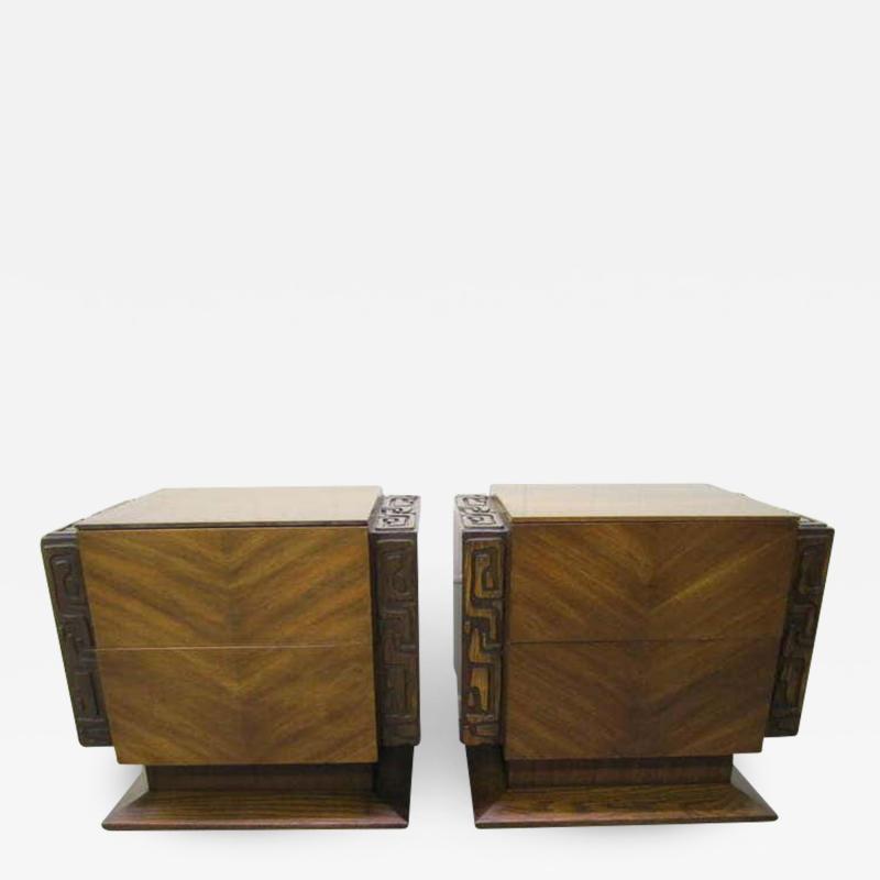 Paul Evans 2 Paul Evans Style Sculptural Brutalist Walnut Night Stands Mid century Modern