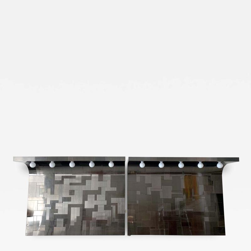 Paul Evans A Pair of Cityscape Headboard with Lights Paul Evans for Directional