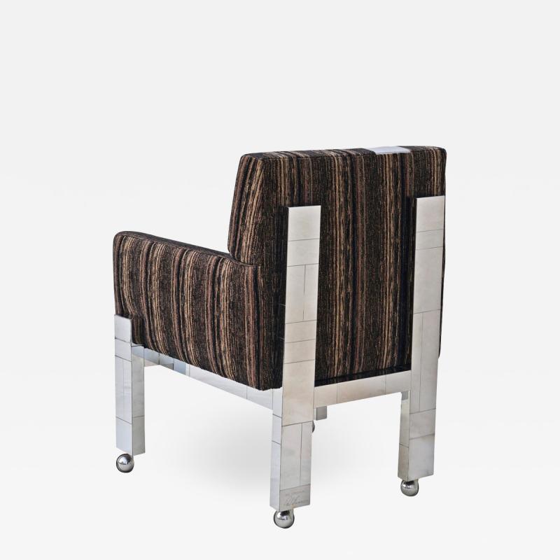 Paul Evans Cityscape Fabric Desk Arm Side Chair with Castors by Paul Evans Inc