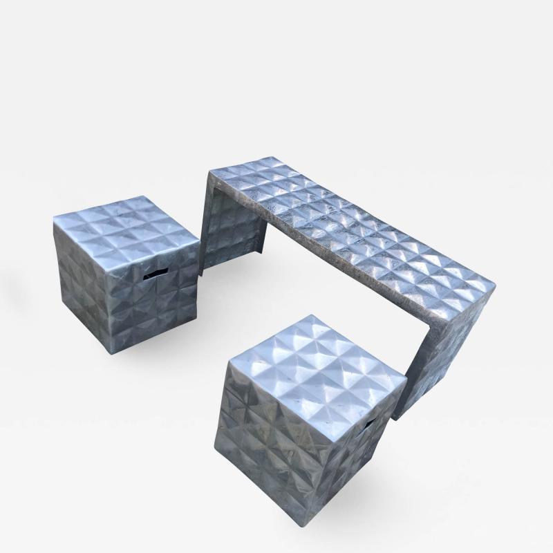 Paul Evans Modern Cube Side Tables Bench Set in Aluminum 1970s Paul Evans era