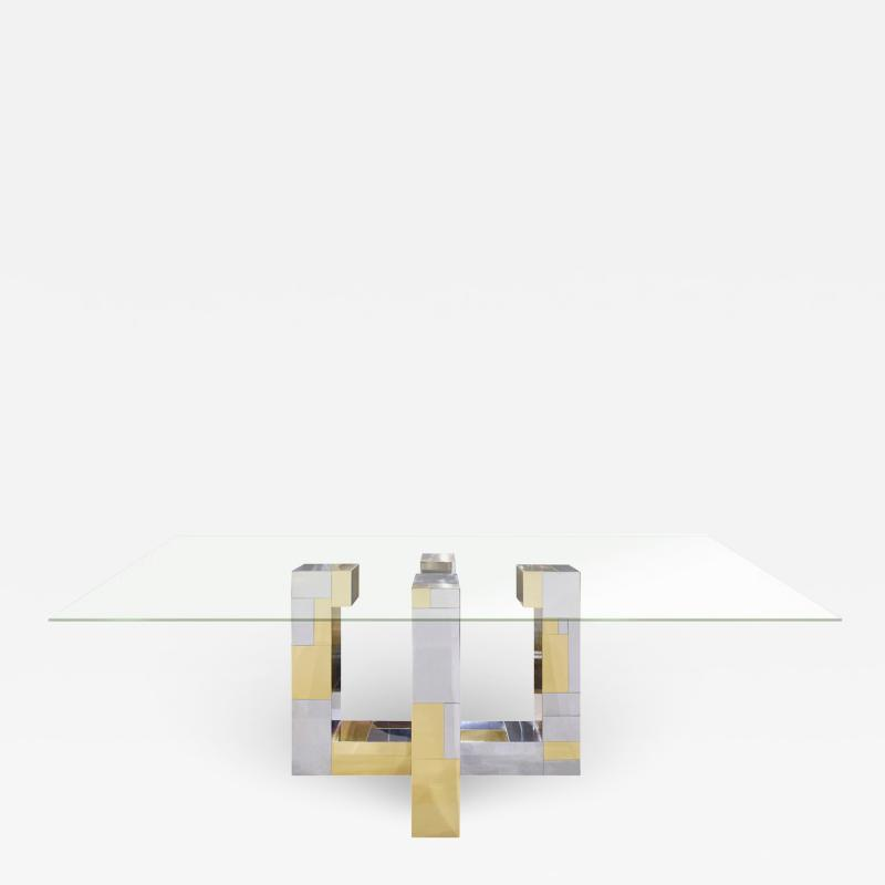 Paul Evans Paul Evans Cityscape Dining Table in Tessellated Chrome and Brass 1970s