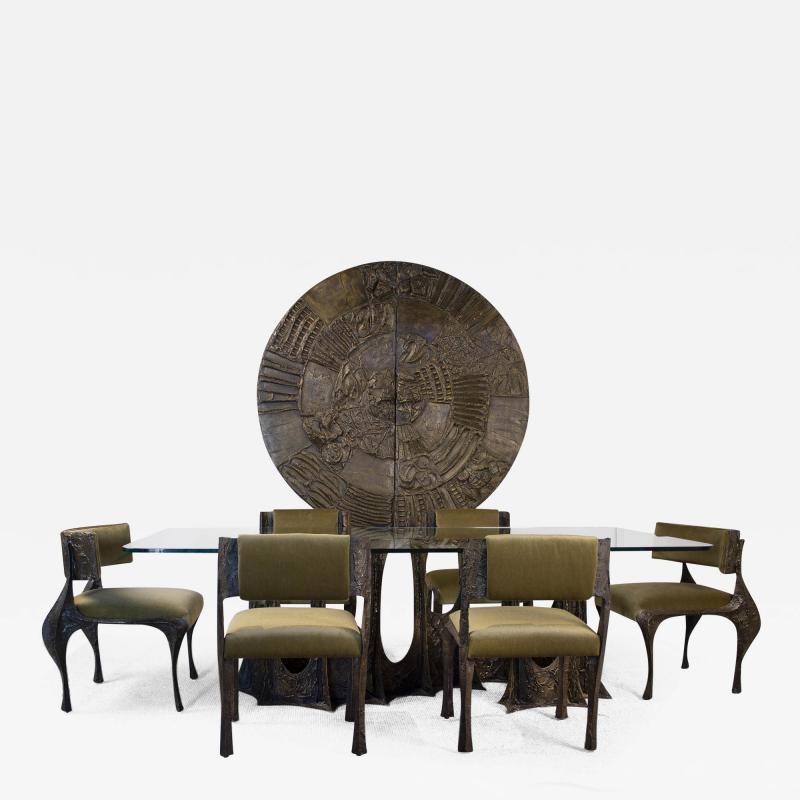Paul Evans Paul Evans Dining Set in Sculpted Bronze 1969