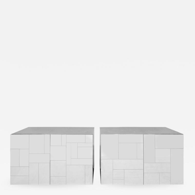 Paul Evans Paul Evans Pair of Bedside Cabinets in Tessellated Chrome 1970s