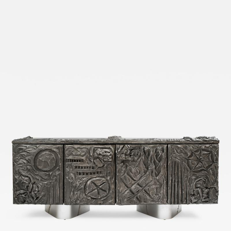 Paul Evans Paul Evans Sculpted Bronze Floating Cabinet in Argente Finish 1969