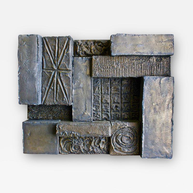 Paul Evans Paul Evans Sculpted Bronze Resin Brutalist Wall Sculpture Circa 1970