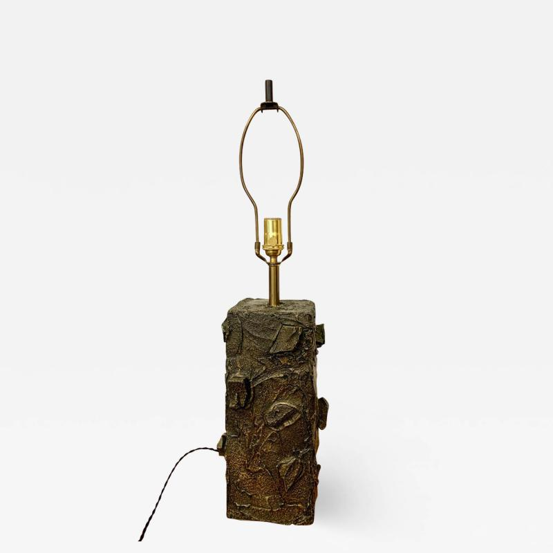 Paul Evans Paul Evans Sculpted Bronze Resin Relief Brutalist Table Lamp Early 1960s