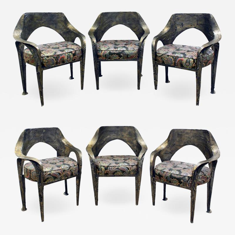 Paul Evans Paul Evans Set of 6 Rare and Important Dining Chairs 1969 signed