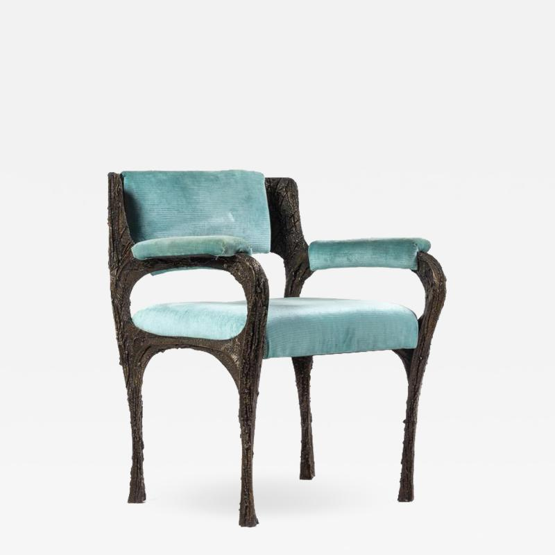 Paul Evans Rare sculpted bronze armchair by Paul Evans for Directional