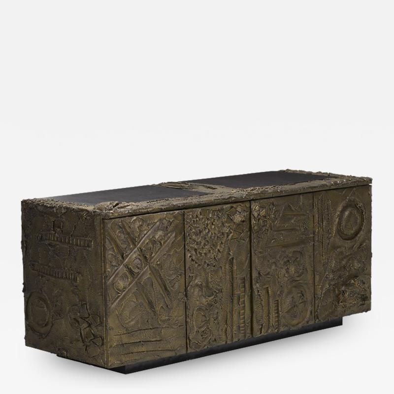 Paul Evans Sculped and Patinated Bronze Credenza by Paul Evans for Directional